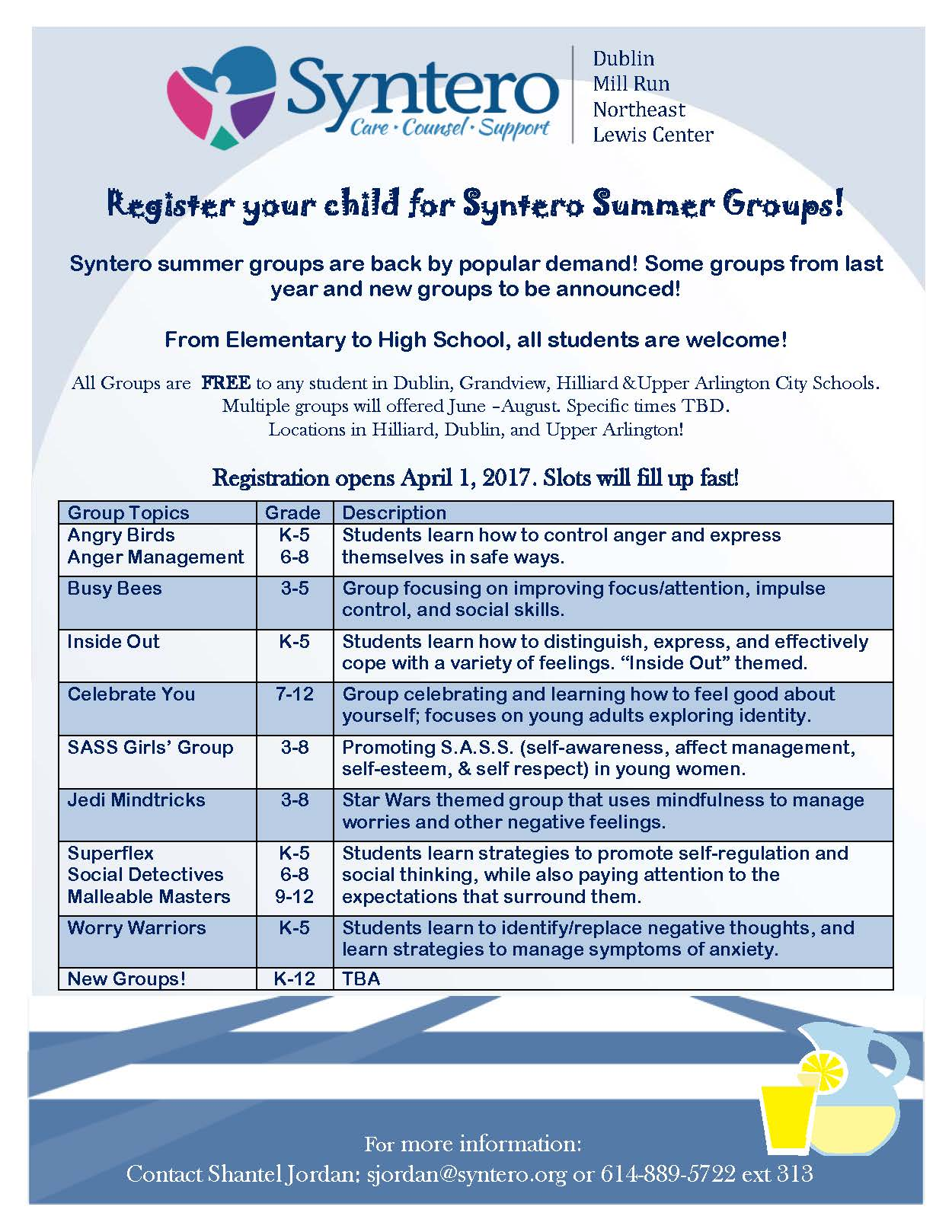Online registration will open April 1, 2017. Please check back for updates  on these wonderful group programs. Download our flyer here.